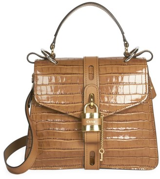 Chloé Aby Croc-Embossed Leather Top Handle Bag