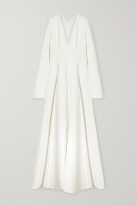 Carolina Herrera Pleated Stretch-crepe Gown - White