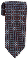 Altea Blue Circle Grid Silk Tie