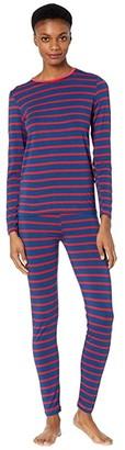 Kickee Pants Long Sleeve Fitted Pajama Set (Everyday Heroes Navy Stripe) Women's Pajama Sets