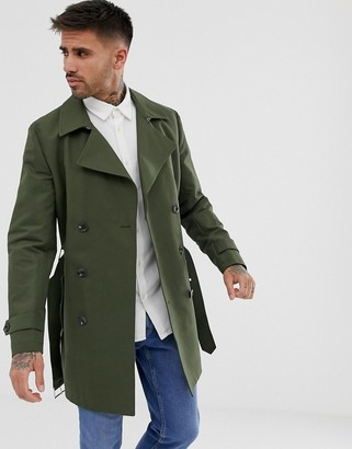 ASOS DESIGN shower resistant double breasted trench in khaki