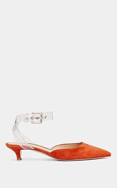 Gianvito Rossi Women's PVC-Strap Suede Mules - Orange