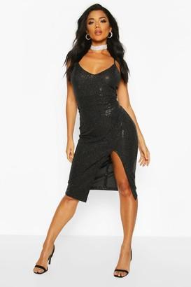 boohoo Sequin Strappy Plunge Front Split Midi Dress