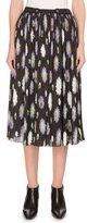 Kenzo Pompom-Print Crinkled Chiffon Midi Skirt, Black