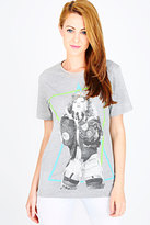 Yours Clothing RIHANNA Grey Printed Short Sleeve Loose Fit T-shirt