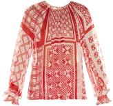 Fendi Foulard-print plumetis-chiffon blouse