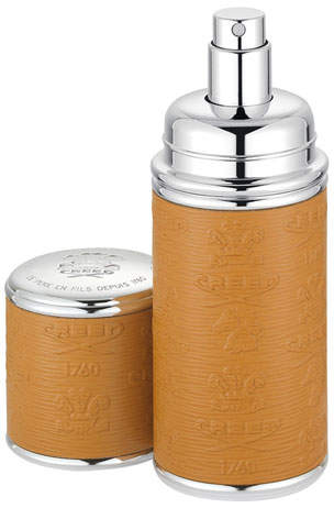 Creed Logo Etched Leather Atomizer, Silver/Camel