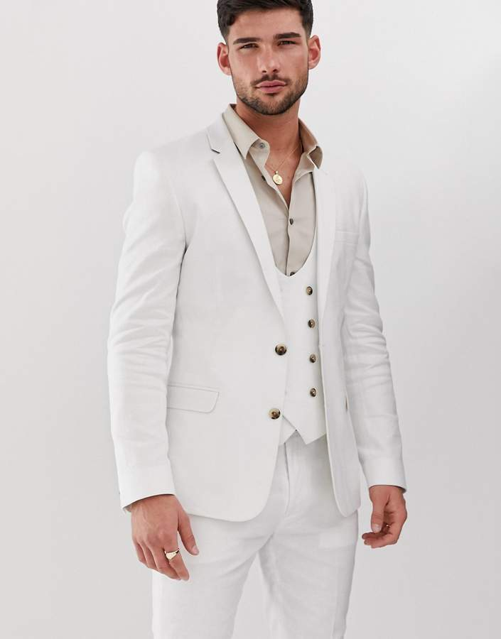better price sold worldwide 100% authenticated Design DESIGN super skinny suit jacket in white linen