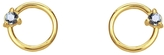 WWAKE Sapphire Circle Stud Earrings - Yellow Gold