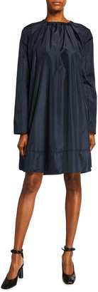 Nina Ricci Long-Sleeve Ruched Silk Dress