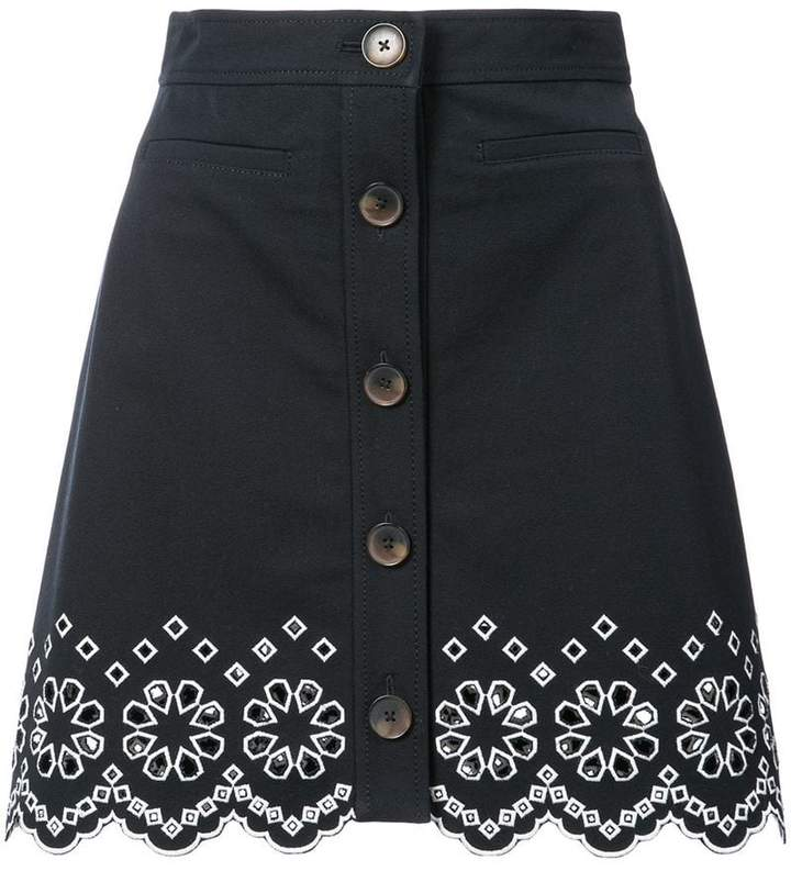 Derek Lam 10 Crosby A-Line Mini Skirt With Eyelet Embroidery