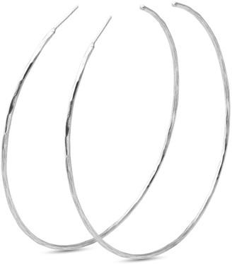 Eva Remenyi Hammered Thin Circle Hoops 7Cm -Silver