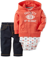Carter's Baby French Terry Boys' 3-Pc. Hoodie, Bodysuit & Pull-On Jeans Set