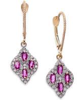 Macy's Ruby (1 ct. t.w.) and Diamond (3/8 ct. t.w.) Drop Earrings in 14k Gold
