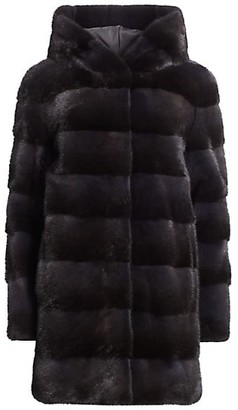 The Fur Salon Norman Ambrose For Mink Fur Hooded Coat