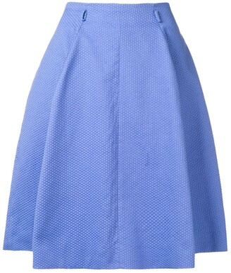 Moschino Pre Owned Geometric Knit Pleated Skirt