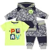 Petit Lem Baby Boy's Three-Piece Techno City Tee, Zip Hoodie and Pants Set