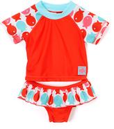 Children's Apparel Network Red & Aqua Fish Rashguard Swimsuit - Infant