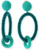 Oscar de la Renta Two-Tone Beaded Hoop Clip-On Earrings