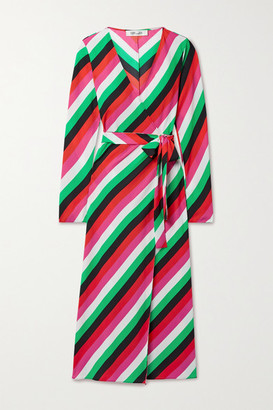 Diane von Furstenberg Tilly Striped Crepe Wrap Dress - Green
