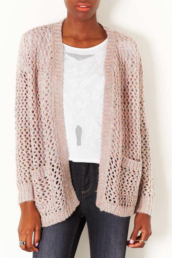 Topshop Knitted Shimmer Mesh Cardi