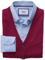 Dark Red Merino Wool Waistcoat Size Large by Charles Tyrwhitt