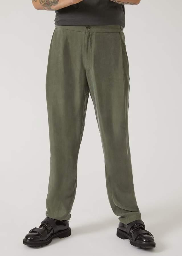 Emporio Armani Cupro Trousers With Darts