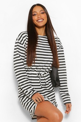 boohoo Tall Nautical Stripe Tie Front Smock Dress