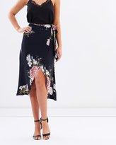 Miss Selfridge Alice Bloom Print Wrap Midi Skirt