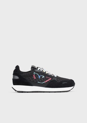 Emporio Armani Suede-And-Mesh Sneakers With Multi-Coloured Eagle
