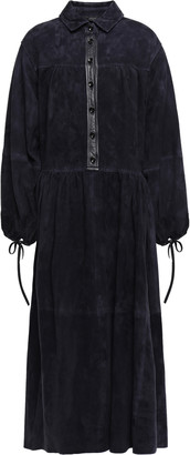 Joseph Claudia Leather-trimmed Suede Midi Shirt Dress