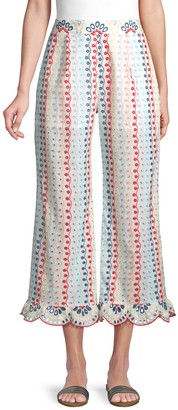 Red Carter Eyelet Cropped Cover-Up Pants