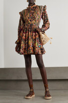Thumbnail for your product : Etro Ruffled Paisley-print Wool And Silk-blend Mini Dress - Orange