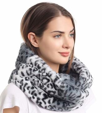 La Carrie Women's Faux Fur Leopard Print Infinity Scarf Loop Circle Neck Warmer (White Leopard)