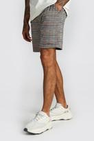 boohoo Mens Orange Check Jacquard Mid Length Shorts, Orange
