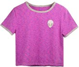 Uideazone Women Alien Crop Top Girls Slim Pink Tees Shirt Cute