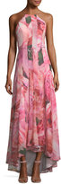 Phoebe Couture Watercolor Floral-Print Chiffon Gown