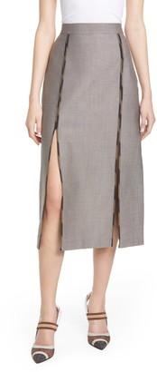 Fendi Contrast Trim Slit Detail Wool & Cotton Skirt