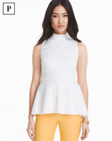 White House Black Market Petite Poplin Peplum Top