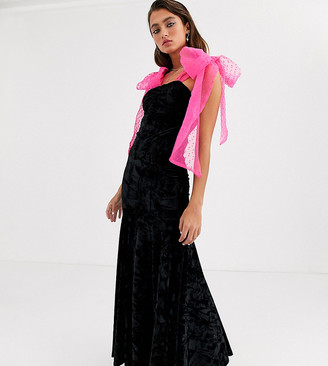 House Of Stars maxi fishtail dress with organza cross over straps-Black
