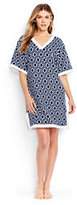 Lands' End Women's Petite French Terry V-neck Cover-up Dress-Deep Sea Geo Max Link