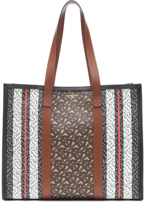 Burberry Monogram Stripe e-canvas tote
