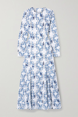 Rebecca De Ravenel Printed Cotton-poplin Maxi Dress - White