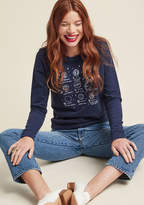 F8022I Intelligent beings across the universe can all agree that this navy blue pullover is universally stylish! Atop the lightweight knit of this navy blue ModCloth exclusive, a white illustration of each planet is paired up with its astrological implication. M