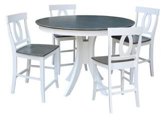 Sedgewick Industries Round Fixed Top Pedestal Counter Height 5 Piece Pub Table Set Sedgewick Industries