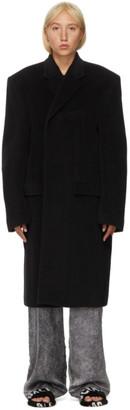 Balenciaga Black Alpaca and Wool Side Coat
