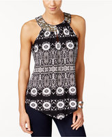INC International Concepts Petite Embellished Printed Halter Top, Only at Macy's