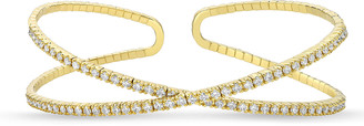 Memoire 18k Gold Flexible Crisscross Diamond Bangle