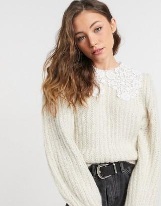 Topshop crochet collar sweater in ecru