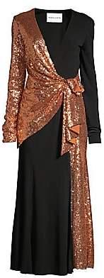 Prabal Gurung Women's Sequin & Silk Wrapped Midi Cocktail Dress